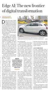 Edge AI Kashyap Kompella Mint Newspaper 29June2018 Article